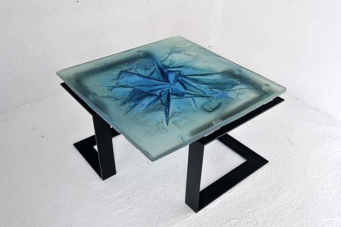 Archiglass Applied Arts Glass Table Stolik Szklany Kra Niebieski Czarny 80x80