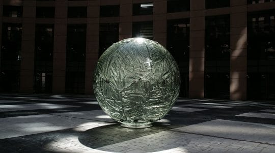 The United Earth at European Parliament building in Strasbourg, France by Archiglass, Tomasz Urbanowicz