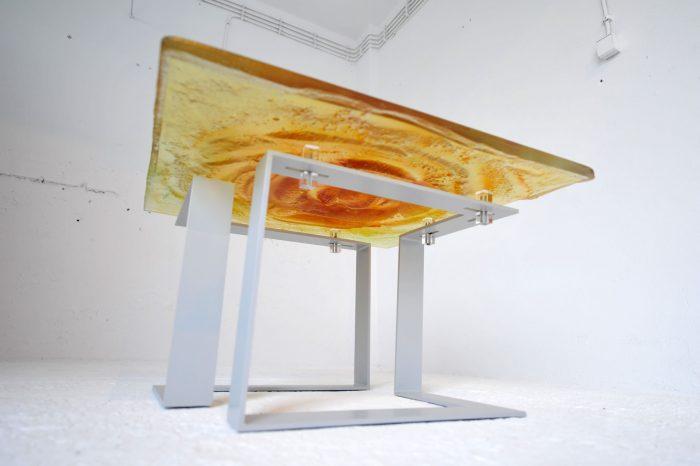 Archiglass Applied Arts Glass Table Stolik Szklany Wulkan Miodowy Szary 80x80