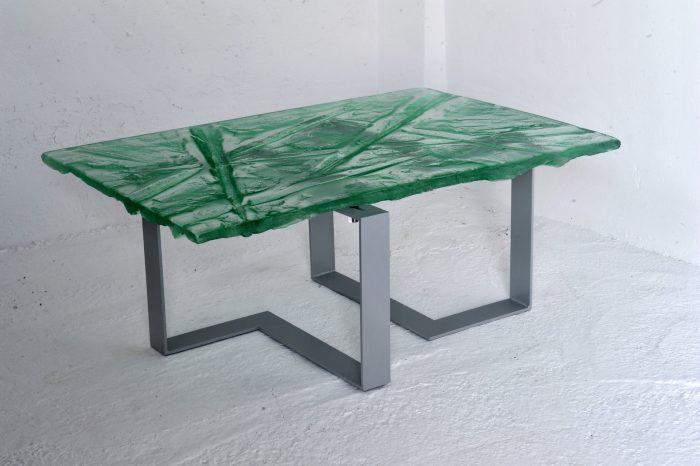 Archiglass Applied Arts Glass Table Stolik Szklany Cięcia Bezbarwny Szary 80x120