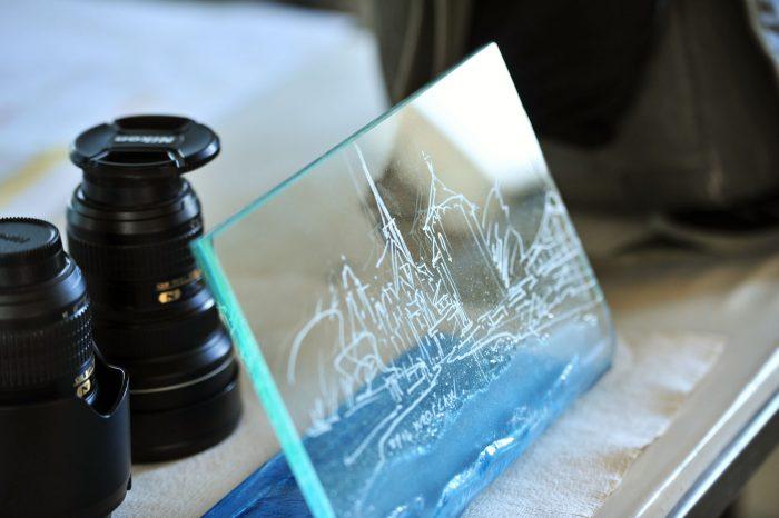 Archiglass Art Glass Prize Szklana Artystyczna Nagroda Statuetka Poziom Bent
