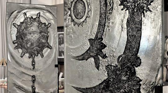 """ARCHIGLASS Tomasz Urbanowicz, prof. Przemysław Tyszkiewicz, Grafika w Szkle Artystycznym. Prints in Glass Art. """"Statek Robinsona"""" Corsydian"""