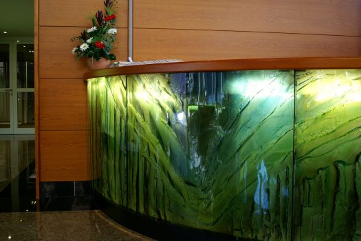 Artistic glass by Archiglass, Tomasz Urbanowicz at reception lobby of Holsten Brewery in Hamburg, Germany. All rights reserved.